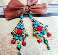Fashion rhombus style colorful  women's vintage alloy earrings