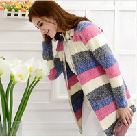 2014 South Korea brand New Lady fashion coat autumn/winter rainbow stripe knitted sweaters cardigan Womens Long cardigan sweater