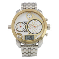 NEWEST brand business military MEN GOLD oversize LED quartz watch,stainless steel sport casual army watch,waterproof wristwatch