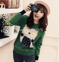 2014 South Korea brand New Ladies' fashion autumn/winter Joker round collar sweater women knit pullover sweater Long sleeve coat