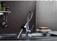 Modern Chrome Solid Brass Functional Swivel Flexible Spout Rotatable Kitchen Sink Faucet / Basin Tap / Torneira Mixer (K-6)