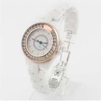 SMART TOP LUXURY rhinestone women DRESS sport WHITE  ceramic Quartz GOLD/SILVER watch casual diamond wristwatch female CLOCK