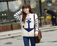 2014 South Korea autumn/winter brand women pullover sweater loose mohair Knitting coat Anchor stripes Long sleeve jumper sweater