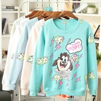 new 2014 Korea style women O-neck cartoon print casual thick velvet hoody / sweatshirt / women coat