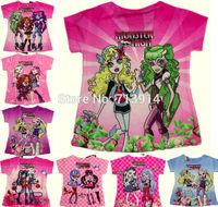 "In stock! new Baby kids girl cartoon monster high"" Fashion short sleeve tshirt 3d t shirt children's tops tees girls clothing"