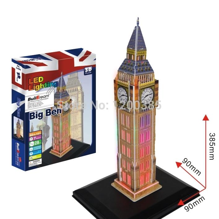 Fcl & LCL atacado negócio 3D puzzles quebra-cabeca 3D brinquedos educativos arquitetura com luz série 26 caixas por a caixa(China (Mainland))