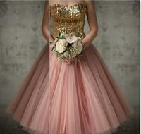 Gold and pink bridesmaid dress