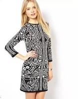 2014 New arrival Ladies' Elegant totem print Knitting dress vintage O-neck long sleeve casual Winter dress brand designer dress