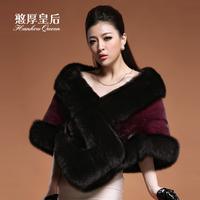Queen 2014 mink overcoat fox cape fur coat