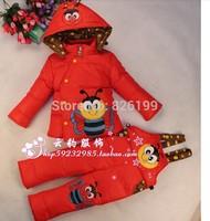 2014 New Baby Girls Boys Winter Down Sets Jacket +Pants Kids Children Clothing Suits Size 100cm-130cm 10Colors