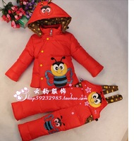 2014 New Baby Girls Boys Winter Down Sets Jacket +Pants Kids Children Clothing Suits Size 100cm-130cm 10Colors