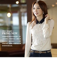 [s-945]new 2013 Chiffoncultivate one's morality leisure chiffon top shirt long sleeve shirt female S M L XL