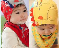 new 2014 The giraffe hat + triangle towel sets suit children hood cap Baby baby hats