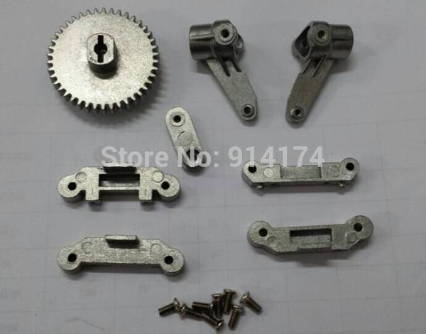 8pcs HengLong rc car 3851-2 1:10 RC Mad Truck upgrade parts metal main gear+metal servos arm+metal steering knuckle(China (Mainland))