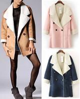 2014 New Autumn Winter Women's Trendy Faux Lamb Large Lapel collar wide Waist Faux Suede Windbreaker Trench Middle long Coat