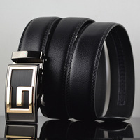 G 2014 Korean fashion models black genuine leather automatic buckle leather belt casual leather belt