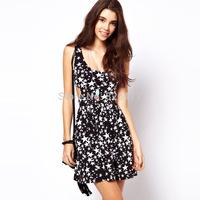 New fashion 2014  summer sleeveless dress black  Stars print O-Neck  Casual Dresses cute hollow out women dress Plus Size