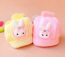 2014 novo quente bebê chapéu do bebê outono inverno tampa super macio coelho dedilhado laço tampa de torção tampa criança recém-nascido cor 4 frete grátis(China (Mainland))