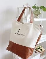 2014 European Fashion Tower Printing Leather Canvas Bags Women Handbag School Shoulder Bag Casual Female Hand bag Bolsas