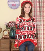 2014 South Korea New Fashion brand autumn/winter Women's stripe knitting coats Ladies' loose pullovers girl Round collar sweater