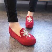 [Free shipping] 2014 New arrival fashion female velvet platform wedges casual round toe shallow mouth rhinestone flats women's