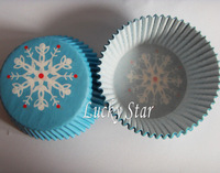 Free Shipping 400pcs Blue Snow Christmas cupcake liner baking cup cake holder muffin paper box for party
