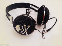 2014 Hot Free shipping(10pcs/lot) Wholesale Fashion Skull rhinestone headphone for computer