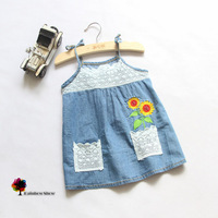 New Children Clothing Girls Summer Openwork Lace Cotton Dress Sunflowers Suspenders Quality Thin Denim Dress