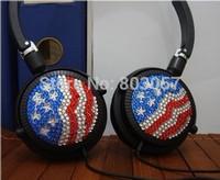 2014 Hot Free shipping(10pcs/lot) Wholesale Fashion USA Flag diamante earphone for cellphone