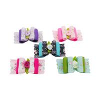 Armi store Handmade Roses Pattern Ribbon Dog Bow 23006 Pet Rubber Band Jewelry 60Pcs / lot