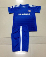 2015 A+++ Chelsee Home Kids/ Children Embroidery Blue Soccer Jersey/ Uniform Sports Clothing Chelsee Player Version Kits