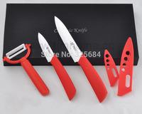 "Free shipping 3"" 5"" inch + peeler 3 pcs ceramic knife set high quality kitchen knives set in black gift box"