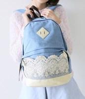 Boys Girls Canvas Demin Rucksack Backpack School Bags-2 Colors