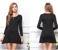 2014 Hot Sales Women's Candy Color 100% Cotton Long-sleeve Plus Size One-piece Dress Basic Skirt