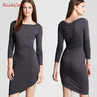 Fashion new arrival richcoco asymmetrical sweep slim medium-long one-piece dress full dress women's c055