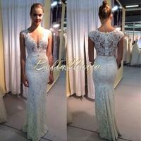 2014 New Style Wedding Dresses Sexy Deep V-neck Sheath Lace Bridal Gowns Floor-length Figure-flattering Beading Skirt Cap Sleeve
