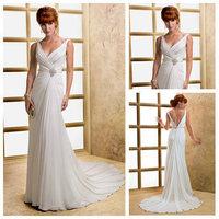 2014 Vestidos De Noiva Wedding Dress Sleeveless V-neckline Front And Back Sexy Design Bridal Gowns Women Wedding Dresses 2013__