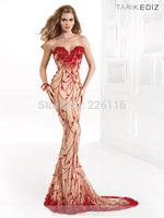 New 2014 Floor Length Sheer Tulle Straps And Flowers Sweetheart Neckline Bodice Flow Court Train Evening Dress Tarikedizbrid