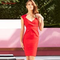 Fashion chest richcoco sexy pleated V-neck tube top slim hip tiebelt d177 short-sleeve dress