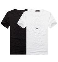 2014 Mens 3D Press Mark Cross Decoration Shining Pearl Short Sleeve T Shirt Male O Neck Tops