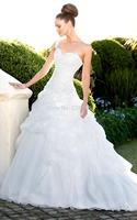 2014 New Princess Sweetheart One Shoulder Bridal Gown Organz Pickups Skirt Chapel Train Wedding Dress Essenseb