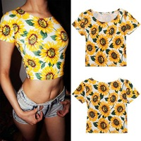 Newest Summer Women's Trendy Sunflower Print Round Neckline Midriff-Baring Crop Top Shirt Tee