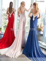 New Sale 2014 Beautiful Floor Length Taffeta Dress Sheath Fitted Bodice Spaghetti Straps Beaded Neckline Evening Sheer Backless