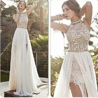 Vestido De Festa Curto Elegant Applique Long High Neck Prom Dresses 2014 Chiffon Slit Evening Party Gowns Floor Lengthbridalk
