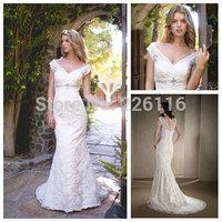 Wedding Dress Vestido Beautiful Short Sleeve Lace Wedding Gowns V Neck Mermaid Bride Dresses For Girls 2014 Custom Madebridalk