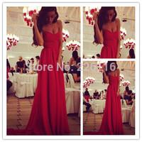 New 2014 Arrival Sweetheart Pleat Long Evening Dresses vestido de festa longo A Line Floor Length Red Chiffon Prom GownsBRIDALK