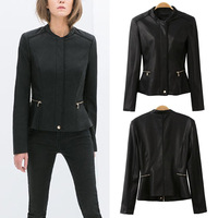 Hot Sale 2014 NEW Fashion Europe Women PU Leather Zip waist Peplum Jacket Coat S M L