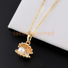 Fashion Shell Pearl Design 18K Gold Plated Pendant Chain Necklace Gold WORD(China (Mainland))