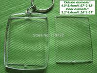wholesale 100pcs/lot acrylic blank photo keychain frame keyring-Rectangular arc shape size 4 * 5.5cm,diy yourself photo keychain