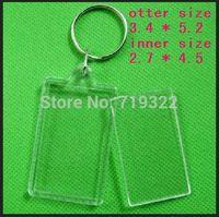wholesale 100pcs/lot acrylic blank photo keychain frame keyring-Rectangular shape size 3.4*5.2cm,diy yourself photo keychain